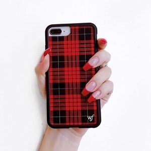 Wildflower Red Plaid iPhone Case (iPhone 8 Plus)